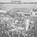 Manifestimi i pushtetit komunist në pazarin e Ri, menjiher pas marrjes së pushtetit