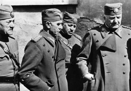 Heeresfilmstelle Hohe serbische Offiziere nach der Gefangennahme, vor ihrem Abtransport nach Deutschland. Aufnahme am: 14.04.1041 Ort: Agram Land: Jugoslavien