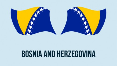 Bosnia flag state symbol isolated on background national banner. Greeting card National Independence Day of the Bosnia and Herzegovina. Illustration banner with realistic state flag of B&H.